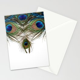 BLUE-GREEN PEACOCK FEATHERS WHITE ART Stationery Cards