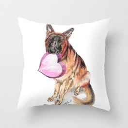 German Shepherd love , cute GSD dog watercolor with heart Throw Pillow