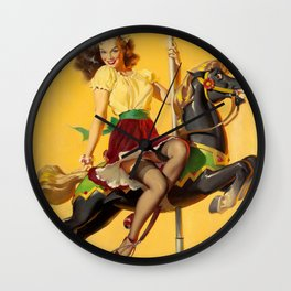 Pin Up Girl and Carousel Horse Wall Clock