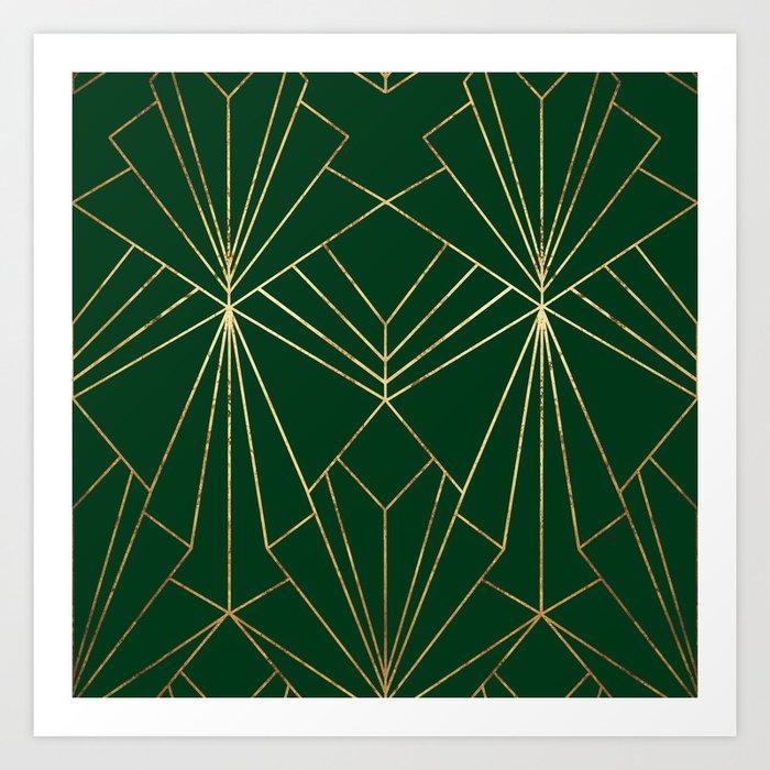 Art Deco in Gold & Green - Large Scale Kunstdrucke