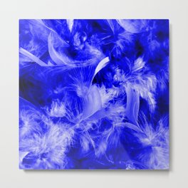 Colorful Feathers,blue Metal Print
