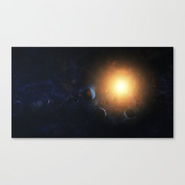 Small planet surrounded by asteroids. Outer Space, Cosmic Art and Science Fiction Concept. Canvas Print