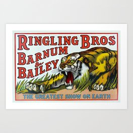1938 Ringling Brothers and Barnum & Bailey Circus Tiger Act - Greatest Show on Earth Circus Poster Art Print