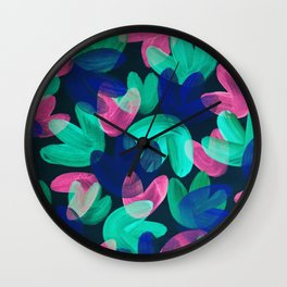 Vibrant Acrylic Painting Layered Tulips Floral Pattern Multi Colors Neon Pink Blue Green Party Vibe Wall Clock
