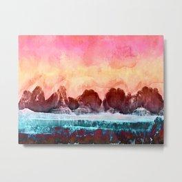 Woohoo Watercolour Mountains Metal Print
