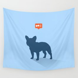 Frenchie Expectations - Baby Blue Wall Tapestry