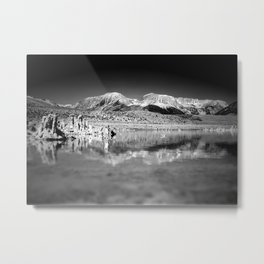 Mono Lake Black and white Metal Print