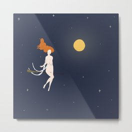 Witch flying in moonlight Metal Print