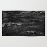 fierce Area & Throw Rugs featuring Fierce Waves by Syella