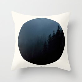 Mid Century Modern Round Circle Photo Graphic Design Navy Blue Pine Forest Trees Silhouette Throw Pillow