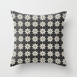 Flower Petals, Cream on Dark Charcoal Throw Pillow