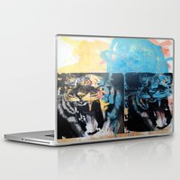 tigers Laptop & iPad Skins featuring YAWNING TIGERS by Brandon Neher
