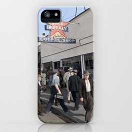 Pedestrians outside the A.B.C. Coffee Shop, 3700 East Hastings Street , Vancouver 1940s iPhone Case