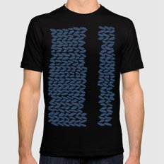 Missing Knit Navy on White Mens Fitted Tee MEDIUM Black