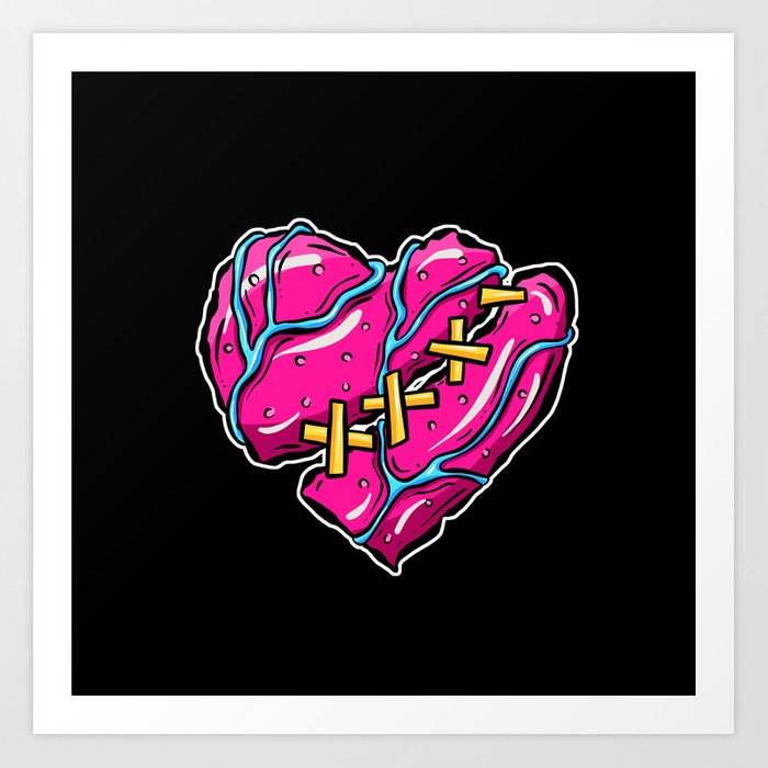 The Zombies Are Coming - Pink Zombie Heart Art Print