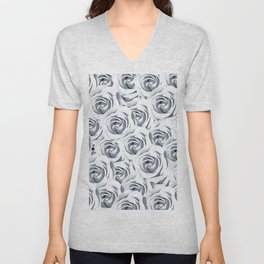 rose pattern texture abstract background in black and white Unisex V-Neck