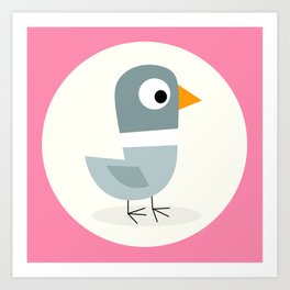 Mr Bird Pink Art Print
