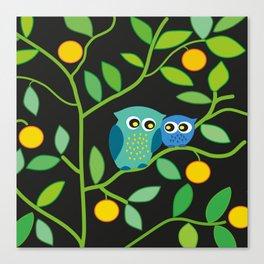 owls in the dark pillowcase Canvas Print