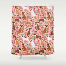 Boxer mixed coats dog breed florals pet gifts for boxers pupper must haves Shower Curtain