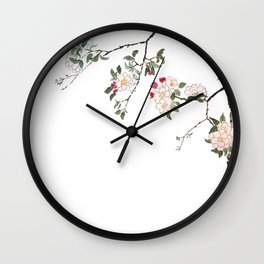 pink cherry blossom Japanese woodblock prints style Wall Clock