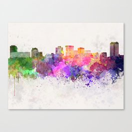 Norfolk skyline in watercolor background Canvas Print