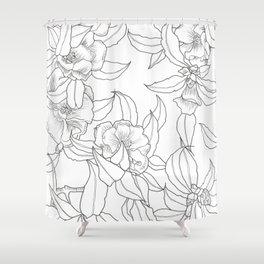 Flower Outline Shower Curtain