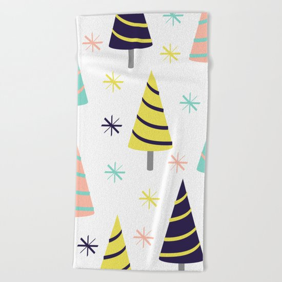 Colorful Christmas Trees Beach Towel