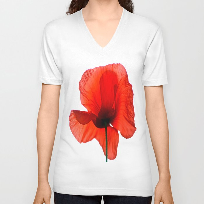 Simply Red - Poppy Flower on White Unisex V-Neck