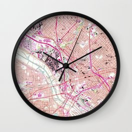 Vintage Map of Dallas Texas (1958) Wall Clock