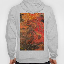 Fluid Art Acrylic Painting Pour 24, Red, Yellow, Orange & Black Blended Color Hoody