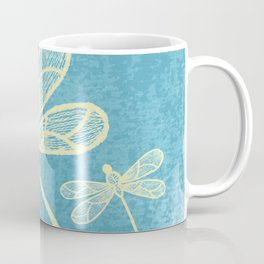 Abstract dragonflies in yellow on textured blue Coffee Mug