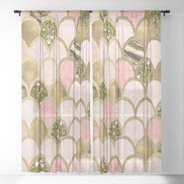 Rose gold blush mermaid scales Sheer Curtain