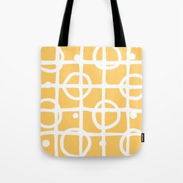 Yellow White Circle Squares Tote Bag