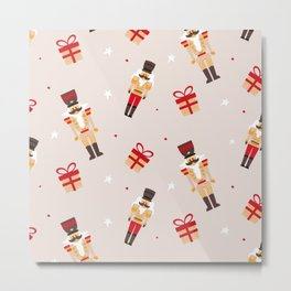 Christmas nutcracker pattern Metal Print