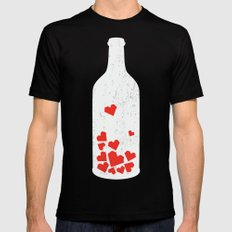 Message in a bottle Black Mens Fitted Tee MEDIUM