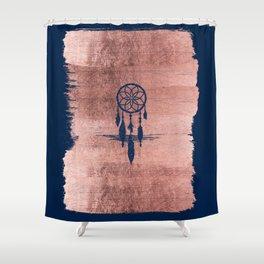 Modern navy blue faux rose gold dreamcatcher Shower Curtain
