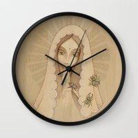 santa Wall Clocks featuring Santa by Juliana Fusco
