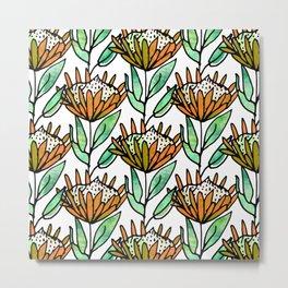 Modern Floral Protea Orange #homedecor Metal Print