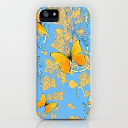 BABY BLUE ABSTRACT  IVY VINES & YELLOW BUTTERFLIES iPhone Case