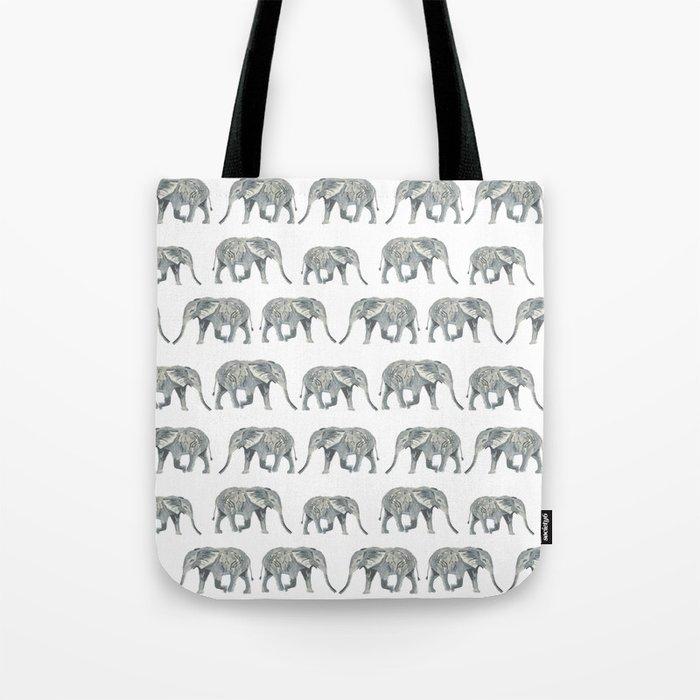 Elephant nature safari tropical painting watercolor nature pattern  Tote Bag