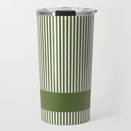 Olive Green & White Stripes Travel Mug