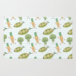 Cute funny greens orange blue polka dots vegetables Rug