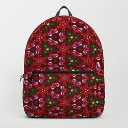 Beautiful Red and Green Beaded Pattern Backpack