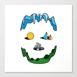 Skull - Retro Geometric Poster Canvas Print