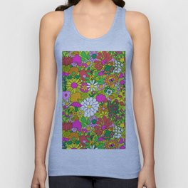 60's Groovy Garden in Lime Green Unisex Tank Top