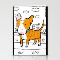 bull terrier Stationery Cards featuring bull terrier by Ellizavetta