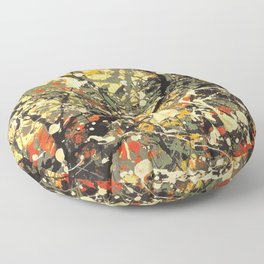 Jackson Pollock, digitally vectorised and filtered, fine art decor and clothing Floor Pillow