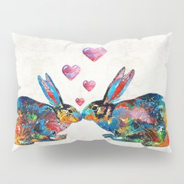 Bunny Rabbit Art - Hopped Up On Love - By Sharon Cummings Pillow Sham