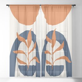 Abstract Shapes 58 in Burnt Orange and Navy Blue (Sun, Rainbow and Plant Abstraction) Sheer Curtain
