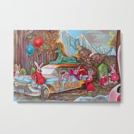 Bunny rabbits selling ice cream from a hearse Metal Print